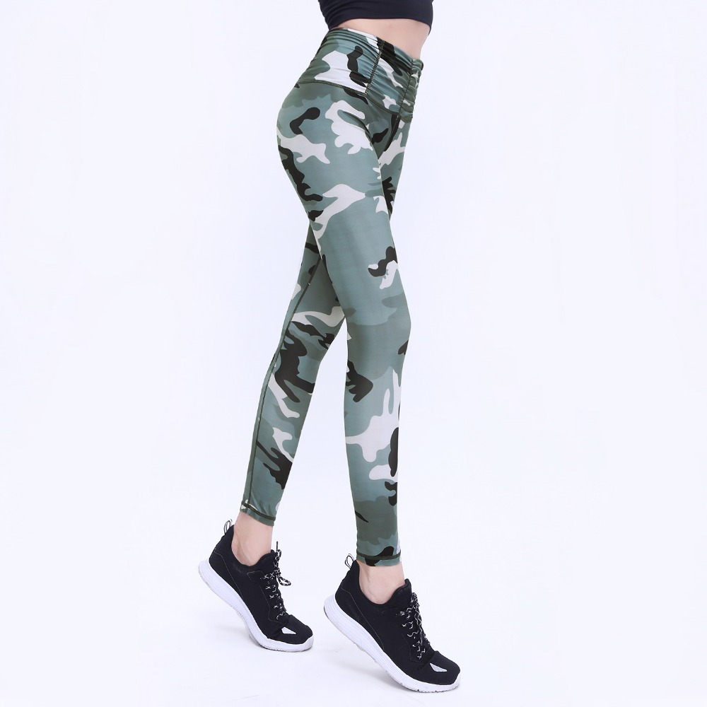 S QVSIA New Camo Printed Sporting Women Leggings Sexy Fitness Lady High Waist Legging Gymming Leggins