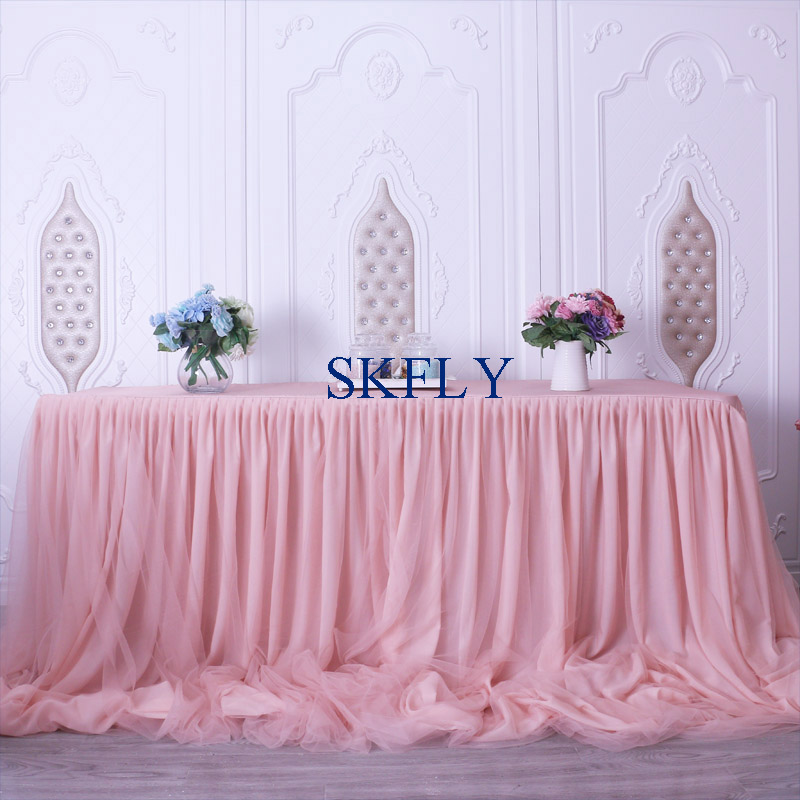 CL072C gorgeous 2019 custom made many colors new wedding taffeta chiffon tulle ruffled blush pink table