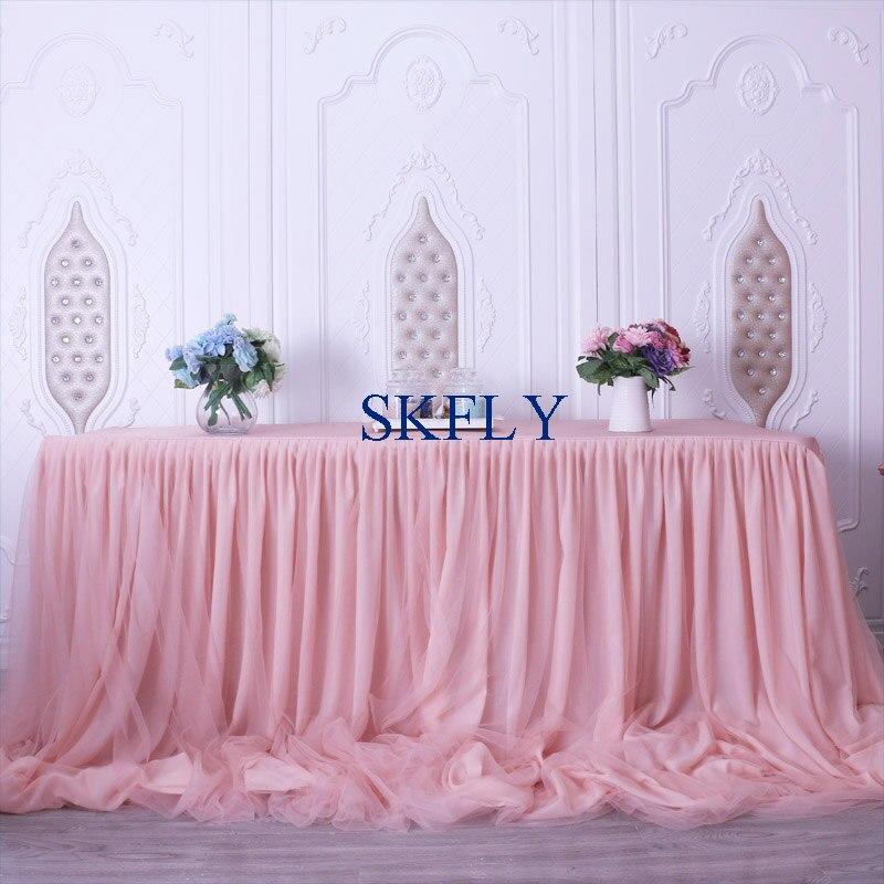 CL072C magnifique 2019 fait sur commande beaucoup de couleurs nouveau mariage taffetas mousseline de soie tulle à volants blush rose jupe de table avec velcro-in Jupes de table from Maison & Animalerie    1
