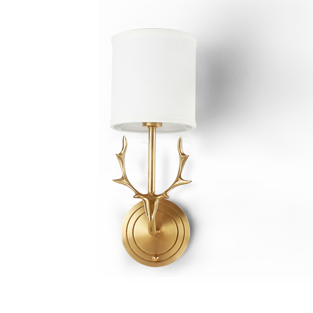 Toolery Antler Wall Sconce Copper Lamp Fabric Shade Light Living Room Restaurant Cafe Bedroom Hotel
