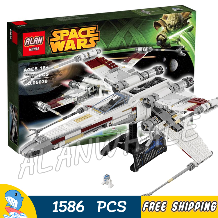 1586pcs Space Wars Red Five X-Wing Starfighter  05039 Model Building Blocks Teenagers Toys Set Bricks Compatible With Lego 75102 star wars 7 red five poe s x wing starfighter tie fighter original blocks bricks building kits compatible with legoe