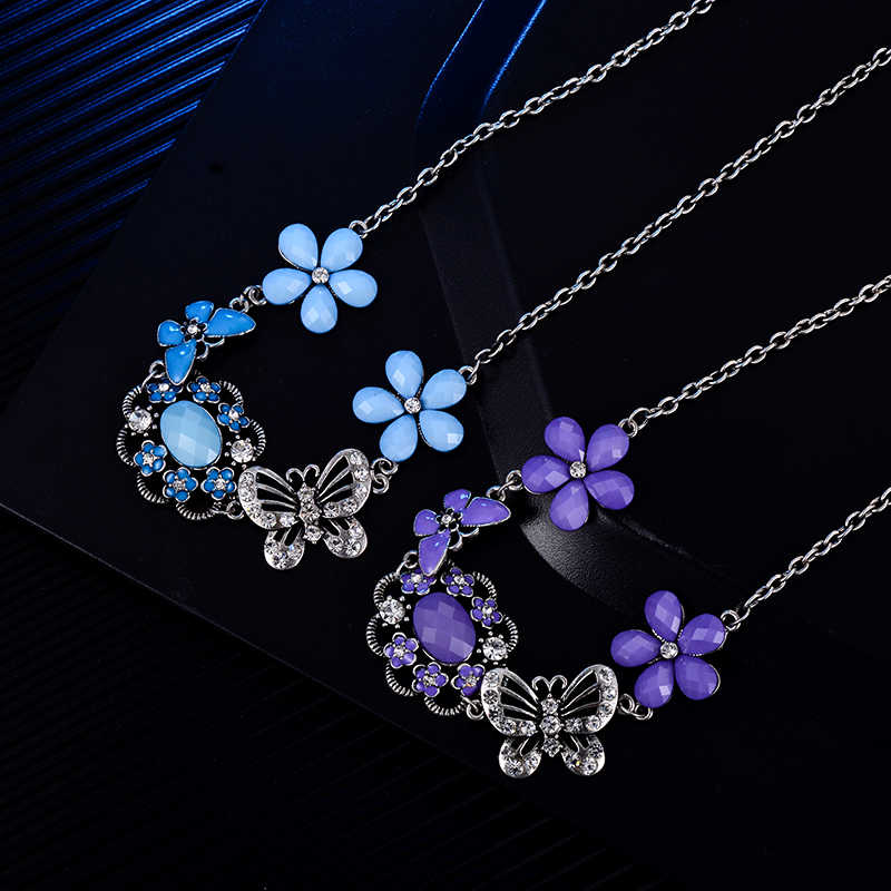 SUKI Jewelry Sale 2018 Vintage Silver Jewelry Colorful Star Flower Chokers Necklace Butterfly Necklaces & Pendants Woman Gift