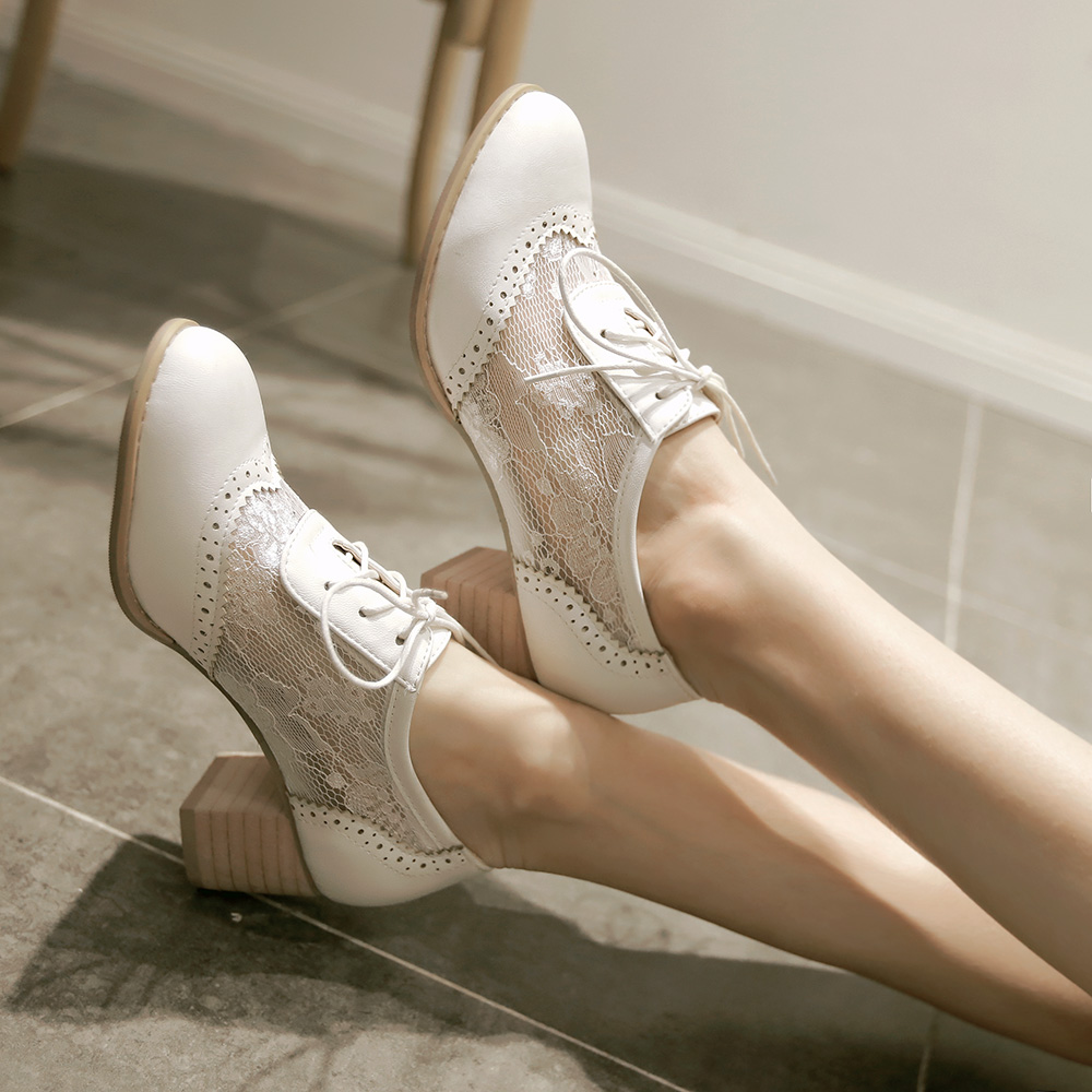 GOXPACER Thick Heel Lace Shoes Women Pumps Fashion Single And Autumn Spring Lacing British-Style
