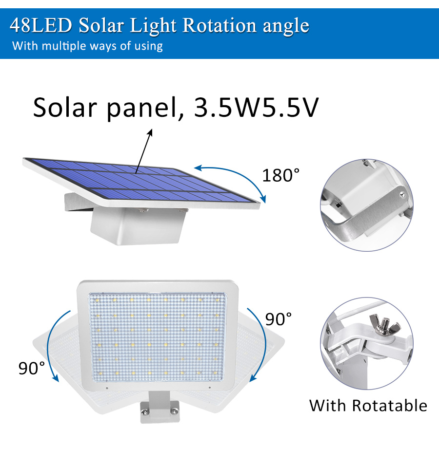 800lm Solar Outdoor Light for with 48 LED With Adjustable Lighting Angle for Garden and Yard Security 9