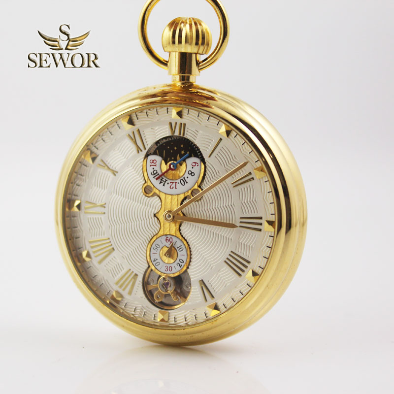 SEWOR 2019 Top Luxury Brand Versione di vendita dei numeri romani d'oro orologio da tasca meccanico sportivo C209
