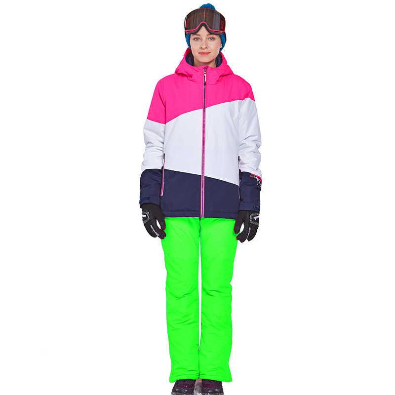 Mùa Đông 2019 Nữ Trượt Tuyết Phù Hợp Với Mũ Trùm Đầu Ấm Ván Trượt Tuyết Áo Khoác Áo Liền Quần Chống Thấm Nước Quần Tuyết Trượt Tuyết Bộ