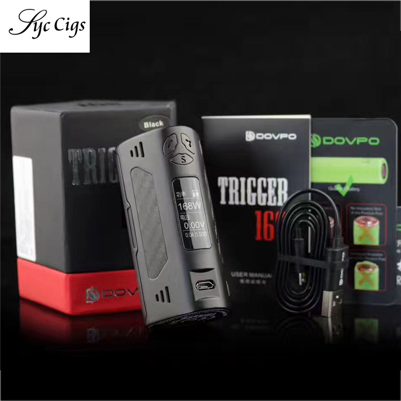 Original DOVPO TRIGGER 168W Box Mod e cigarette Mod for RDA RTA RDTA Vape Kit Ergonomic Design Zinc Alloy Mod