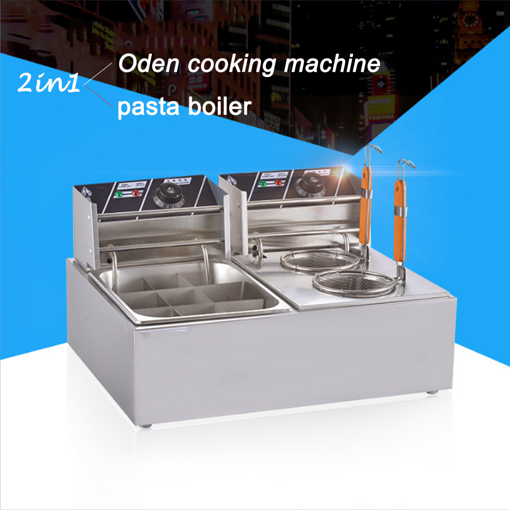 Commercial Stainless Steel Pasta Boiler Double Control Panels Kanto Cooking Machine Noodle Cooker Skewered Food Making Tools
