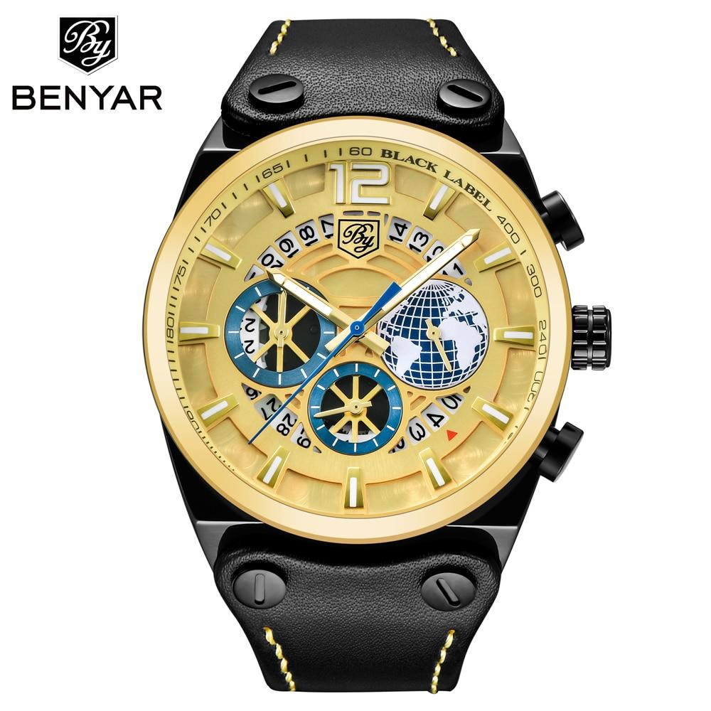 где купить BENYAR Luxury Brand Mens Chronograph Sport Watches Fashion Military Waterproof Quartz Watch Clock Relogio Masculino Dropshipping по лучшей цене