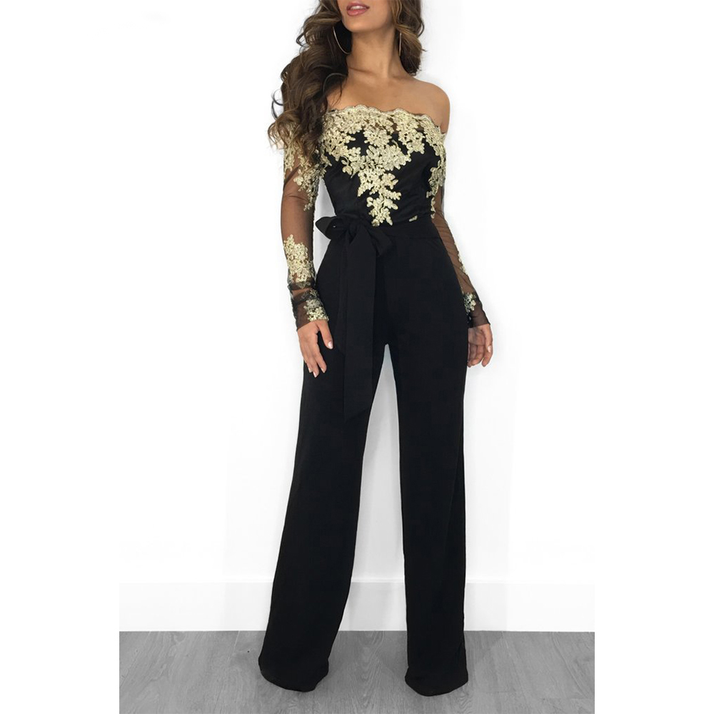 Jumpsuit Women Lace Long-Sleeve Slash-Neck Sexy Elegant Off-Shoulder Slim Appliques Patchwork