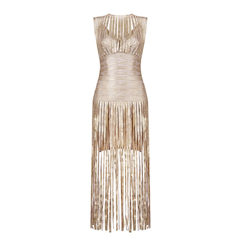 2019 nouveau Sexy soirée gland or imprimé robe Occasion spéciale robe longue bal robes de soirée célébrité Club Bandage robe - 3