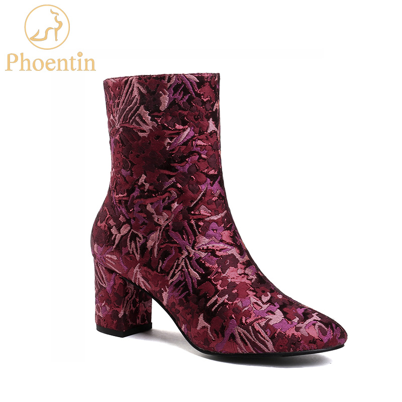 Phoentin flower print boots female 2019 silk embroidered boots zipper med heels fashion ankle booties wine red round toe FT525