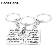 1 set=3pcs Charms Keychains Fashion Trinket Daddy Mommy Daughter Key Rings Family Gift i Love you Keyfobs Keychain llaveros(China)