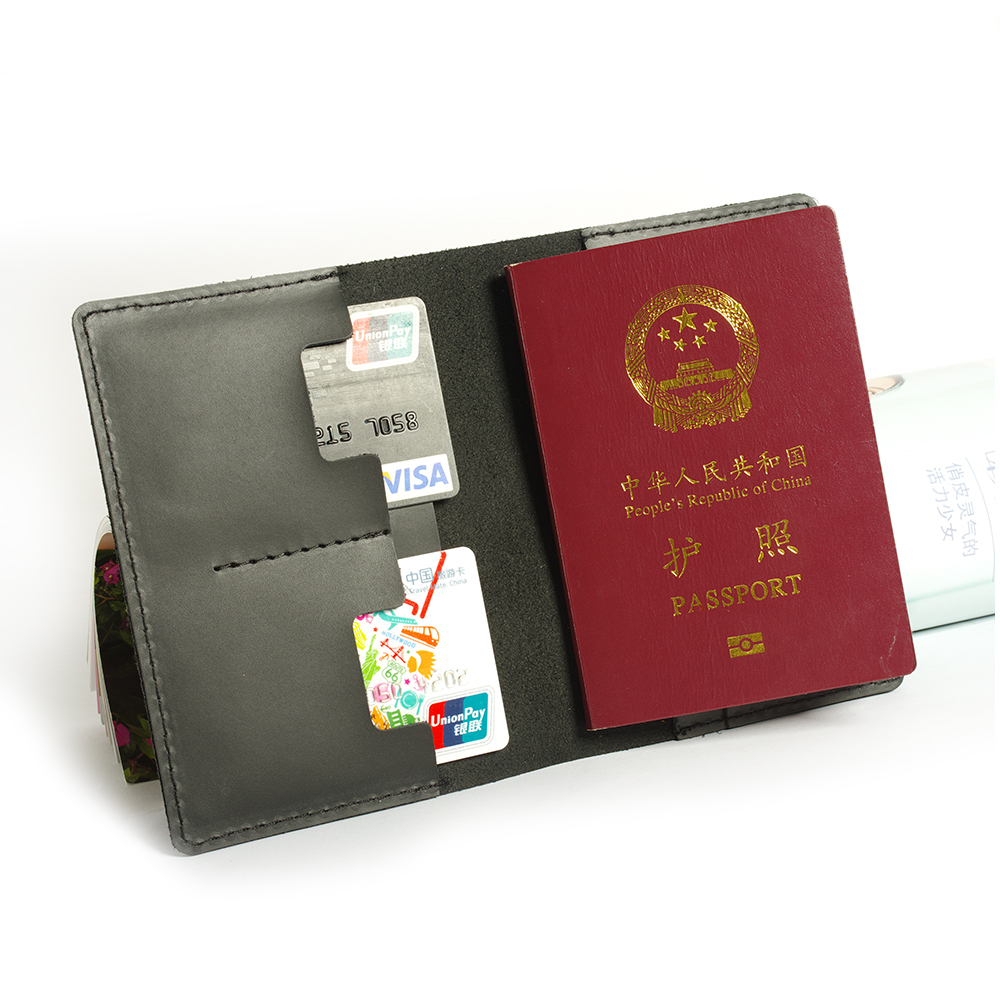 New Passport Cover Genuine leather Travel Women black Leather Business affairs Holder Unisex Pasaport Case