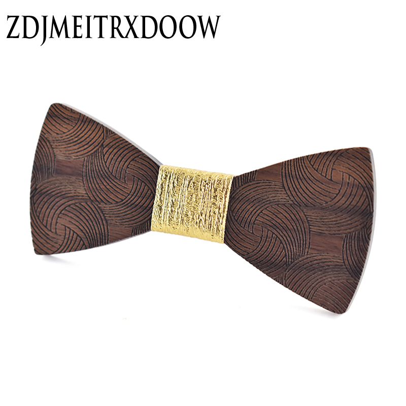 Men's Bow Tie Gold Paisley Wooden Bowtie Business Wedding Bowknot Dot Blue And Black Bow Ties For Groom Party Accessories