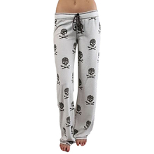 Free Shipping  2017 Women Pants Casual Low Waist Flare Wide Leg Long Pants Palazzo Trousers Skull Printed Pajama Pants At Home