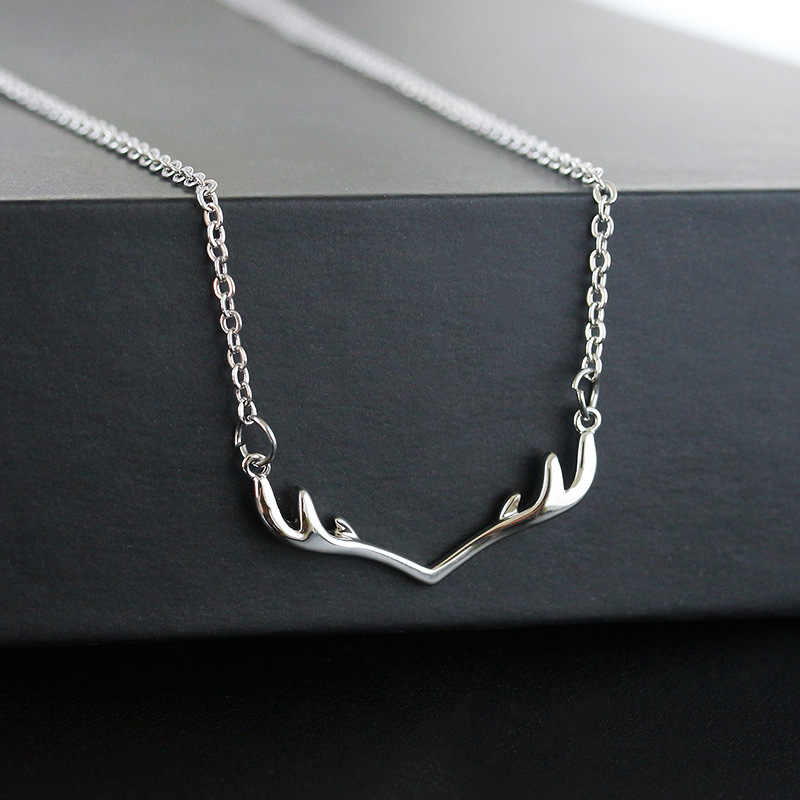 Simple Cute Thin Metallic Deer Antler Silver Golden Chain Necklace for Women