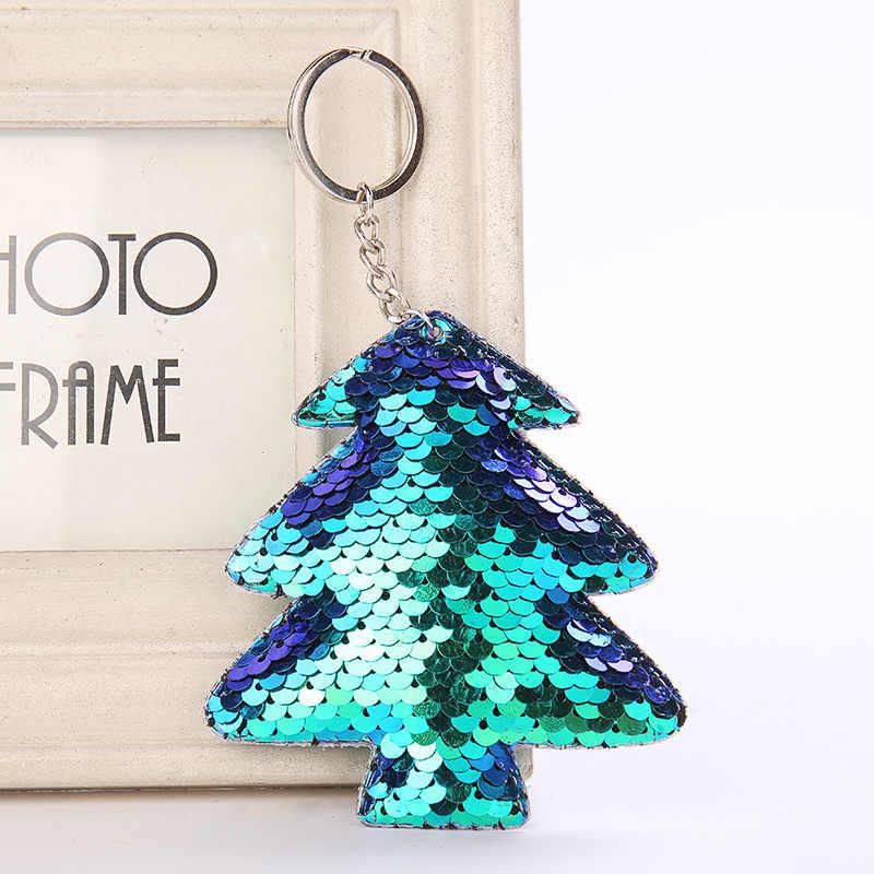 Dễ thương Xmas Tree Keychain Long Lanh Pompom Sequins Quà Tặng Móc Chìa Khóa cho Phụ Nữ Llaveros Mujer Túi Xe Phụ Kiện Vòng Chìa Khóa Chaveiro