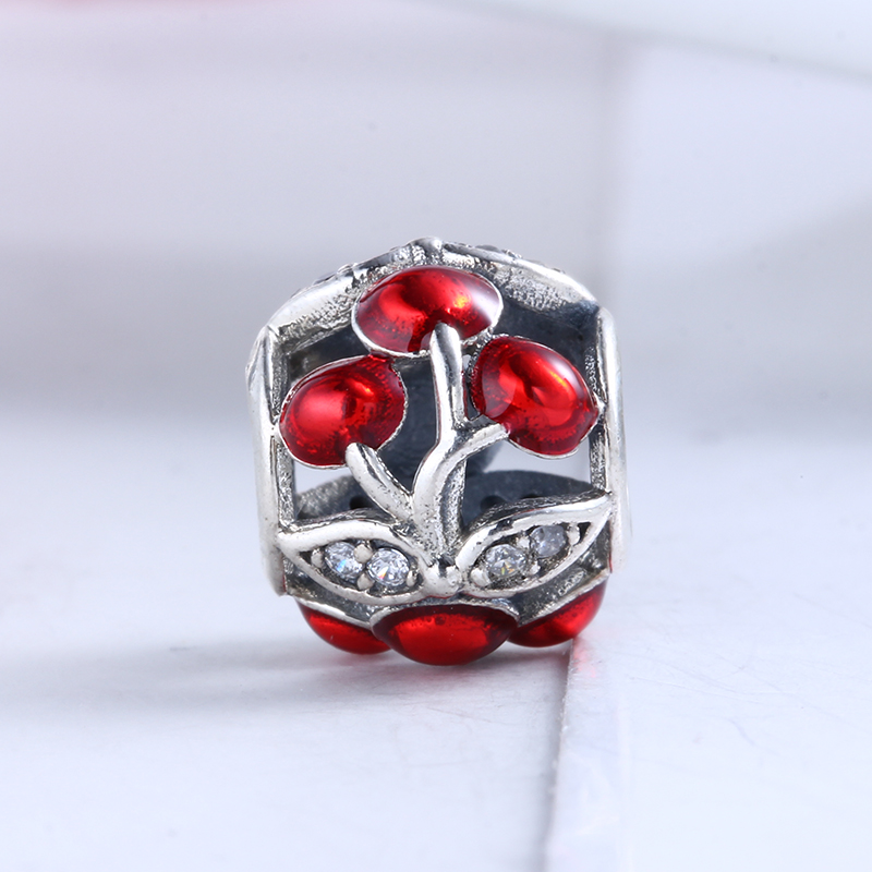100% 925 Sterling Silver Fit Original Pandora Bracelet Authentic Sweet Cherries Glossy Red Enamel Beads for Jewelry Making