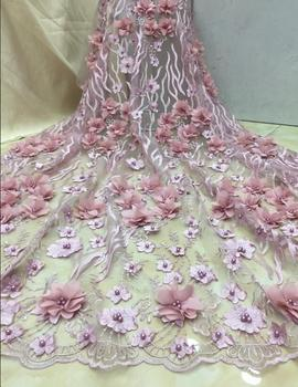 embroiderd lace fabric SYJ-11121 with beautiful Nigerian sequins lace fabric for party dress