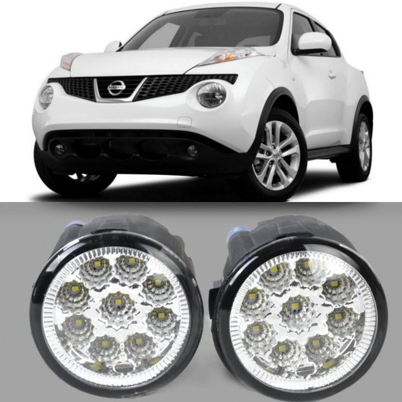 Car Styling For Nissan Juke 2011 2012 2013 2014 9-Pieces Leds Fog Lights H11 H8 12V 55W Halogen LED Fog Head Lamp