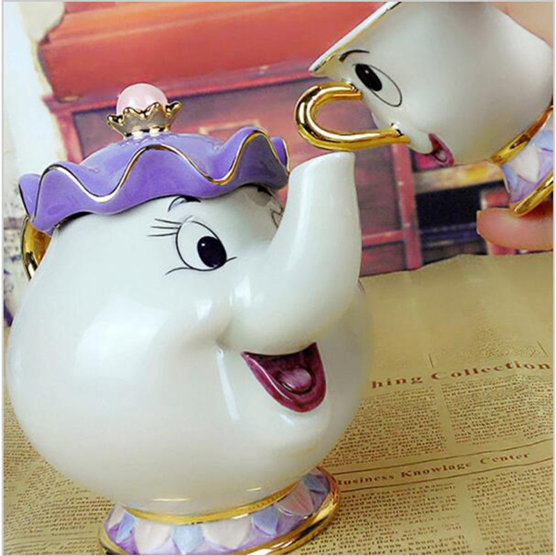 100% Official New Style Cartoon Beauty and the Beast Teapot Mug Mrs Potts Chip Tea Pot 2PCS One Set for Collection gift