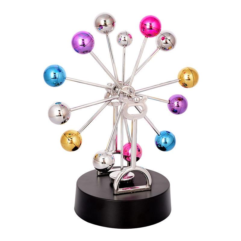 Colorful Wheel Electromagnetic Pendulum Perpetual Instrument Model Office Decoration Magnetic Sculptures desk art sculpture yks colorful balls perpetual motion revolving ferris wheel desk decor kids toy chriamas gift new sale