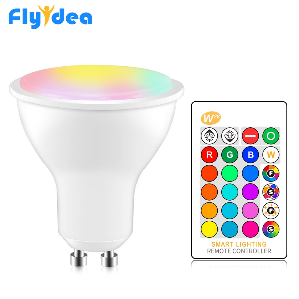 GU10 LED Spotlight 8W RGB + White Light Bulb 220V 110V Dimmable Home Decoration Lighting Color Changing Lamp Cup + IR Control