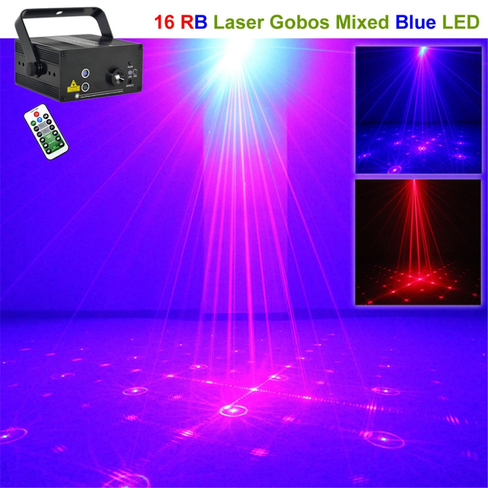 Mini 16 Patterns RB Red Blue Laser Effect Projector Lights 3W LED Mixing