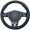 Negro de cuero artificial cubierta del volante del coche para volkswagen vw gol tiguan passat b7 passat cc touran magotan