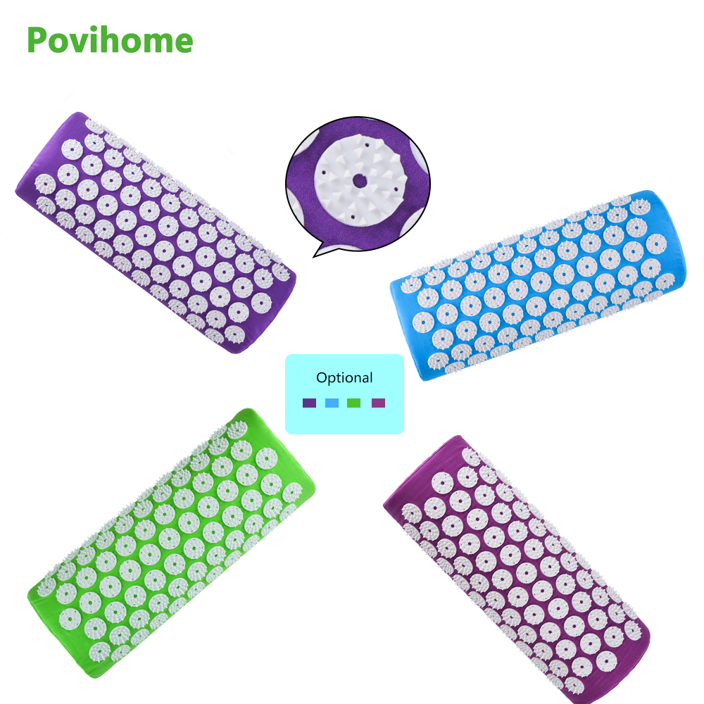 Povihome 1Pcs Multicolor Acupuncture Massager Pillow Cushion Acupressure Spike Yoga Pillow for Relieve Stress Pain Relief