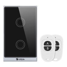 eMylo Smart WiFi Touch Panel Wall Light Switch Wireless Remote Control 2 Gang Timing Function Work with Alexa Echo, Google Home