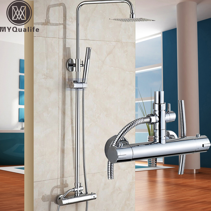 Brass Thermostatic Mixer Valve Shower Set Mixer Faucet Two Handle Wall Mount Shower Kit Stainless Steel 10 Rainfall Showerhead chrome bathroom thermostatic mixer shower faucet set dual handles wall mount bath shower kit with 8 rainfall showerhead