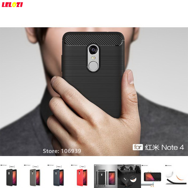 LELOZI Fashion Cheap Soft TPU Armor Rugged Carbon Fiber Brushed Men Phone Mobile Coque Etui Case For Xiaomi Redmi Red Mi Note 4