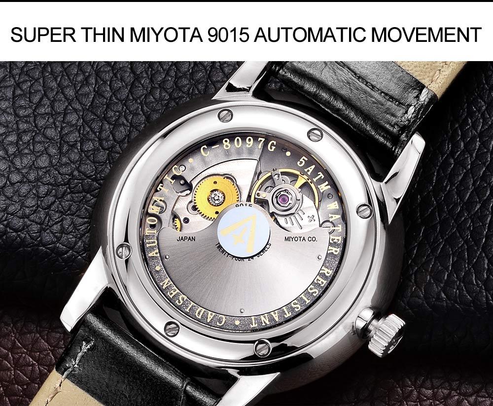 Cadisen masculino relógios automático relógio de pulso