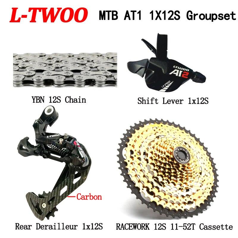 LTWOO AT vtt 12 vitesses Deraileur Groupset + RACEWORk 11-52 T 12 vitesses Cassette + YBN chaîne 4 pièces Set Eagle M9000