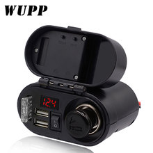 WUPP Motorcycle Cigarette Lighter Socket Dual USB Quick Charger Voltmeter Digital Clock Switch Control Waterproof OCP