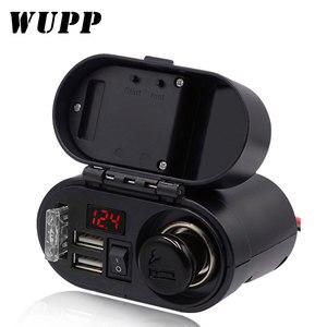Image 1 - אופנוע WUPP מצית שקע USB הכפול מטען מהיר מד מתח דיגיטלי שעון מתג שליטה עמיד למים OCP