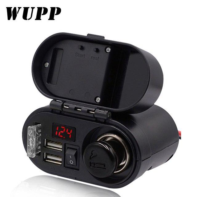 אופנוע WUPP מצית שקע USB הכפול מטען מהיר מד מתח דיגיטלי שעון מתג שליטה עמיד למים OCP