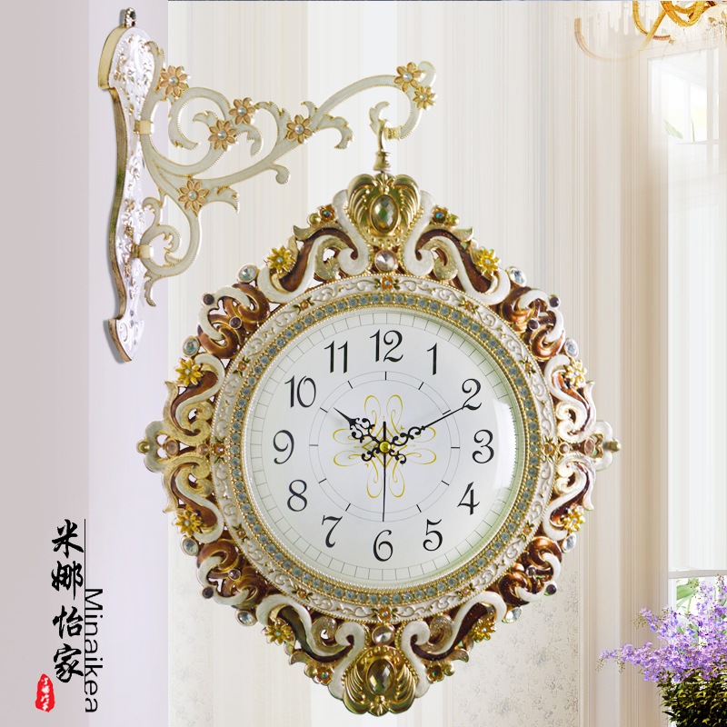 Tuda Free Shipping Large Wall Clock Korean Style Metal Wall Clock  Fashion Double Hanging Clock Home Decor For Living Room