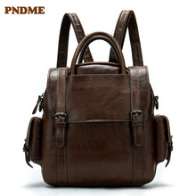 PNDME fashion vintage genuine leather womens backpack casual high quality designer luxury bookbags waterproof travel bagpack