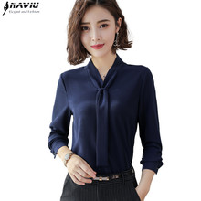 New Fashion Temperament Women Clothing Long Sleeve Blouses Formal Slim Tie Chiffon Shirt Office Ladies Plus Size Tops Navy Blue