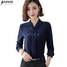 a2a409f516d Новая мода темперамент женская одежда с длинным рукавом блузки формальные  тонкий галстук шифоновая рубашка офисные женские