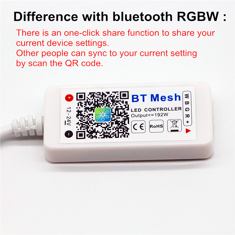 US $6 99 30% OFF|DC 12 24V 192W Mini Bluetooth / BT Mesh Controller IOS  Android Phone APP Wireless Control For 3528 5050 RGBW LED Strip lights-in  RGB