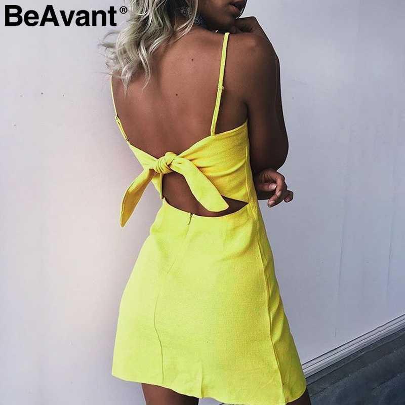 BeAvant мини-платье с бантом сзади, на молнии, лето 2018, повседневное пляжное платье в клетку, на бретелях, женское летнее платье, облегающее платье, vestido de festa