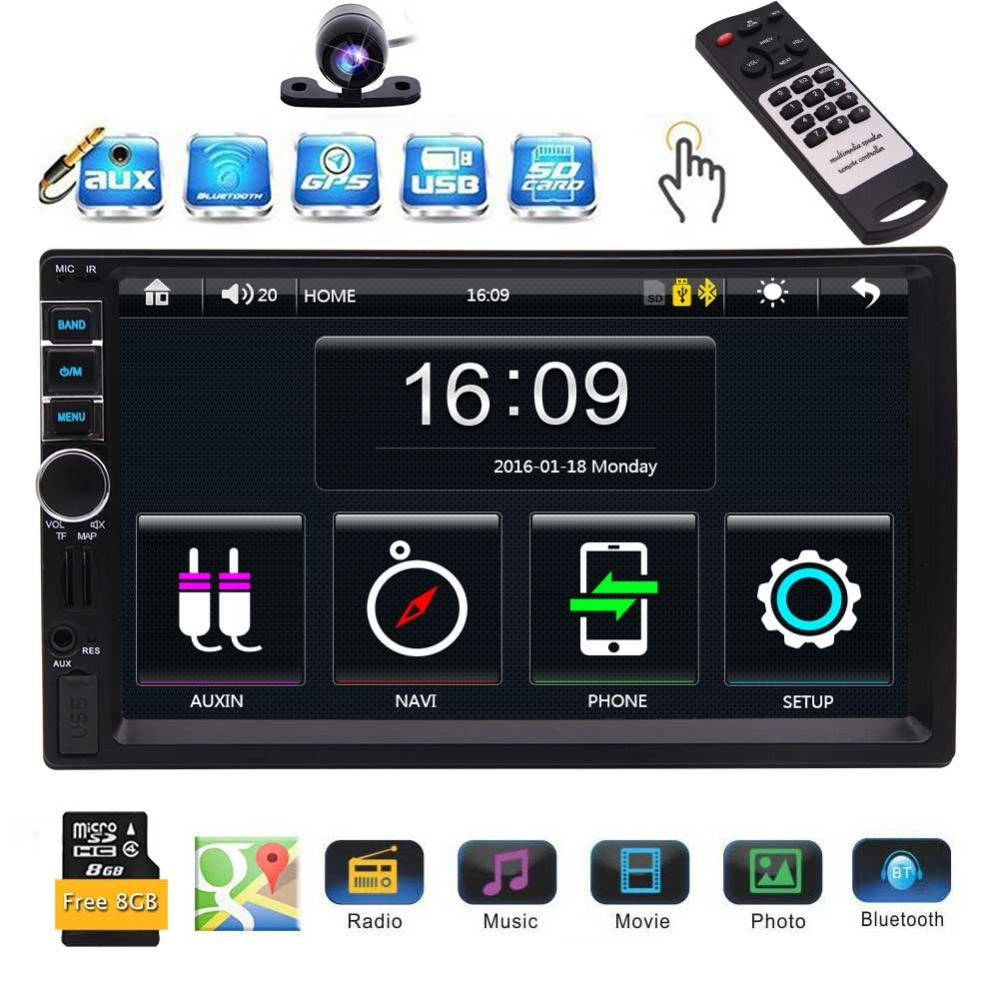 EinCar Car GPS Player In Dash Car Stereo Radio with 7 inch Capacitive Touchscreen In Dash Video Audio Headunit Bluetooth Hands