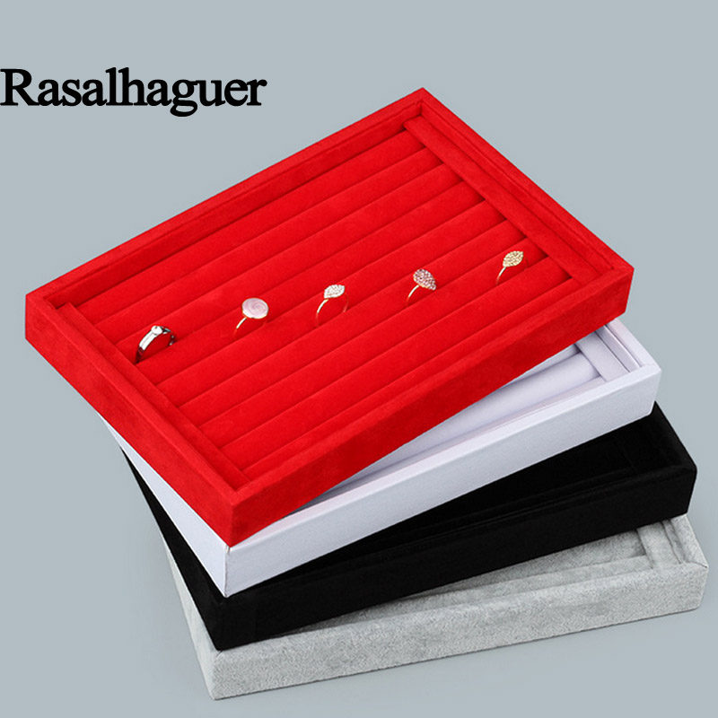 Luxury Jewelry Display Velvet Slots Earrings Rings Tray Organizer Holder Case Box Free Shipping 5 Colors