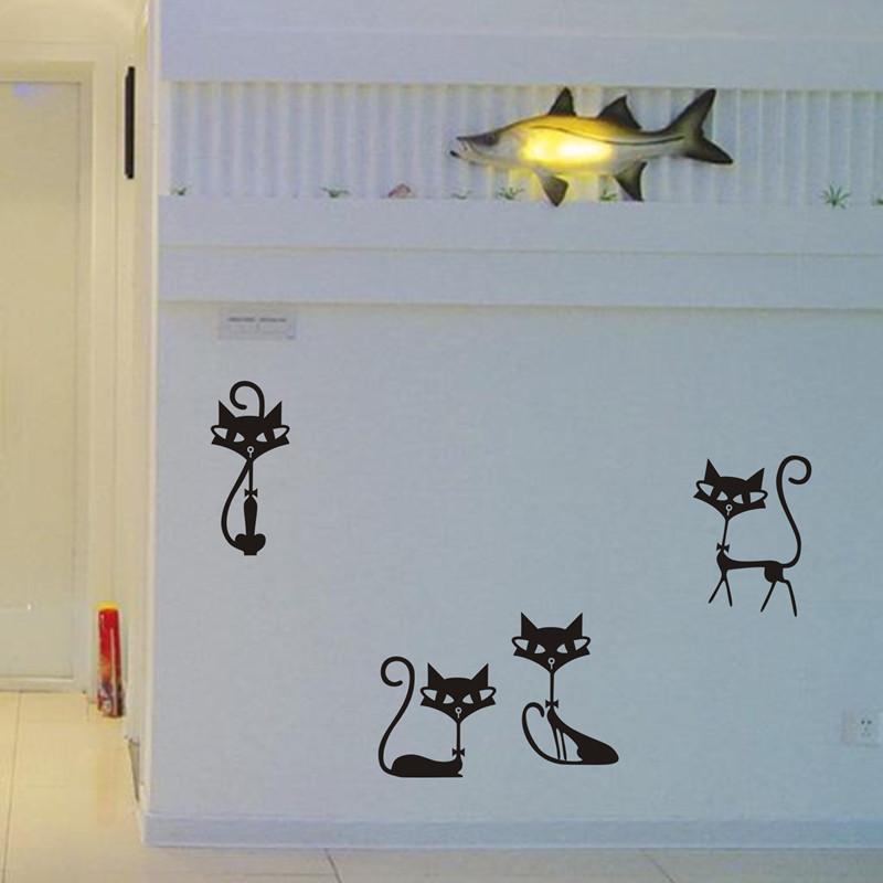 HTB1Wv3UKXXXXXaoXpXXq6xXFXXX2 - 4 Black Fashion Cat Stickers For Kids Rooms