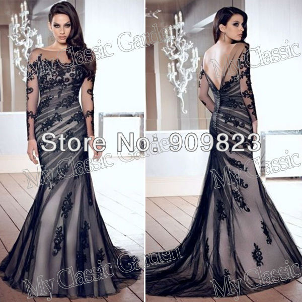 Black lace full length evening dress