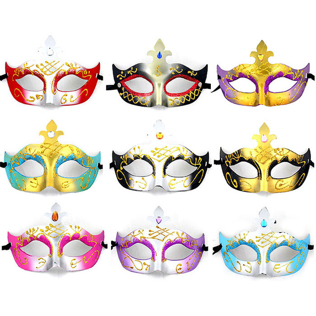 Wholesale Party /Wedding /Halloween /Venice /Masquerade /Cosplay /Festival/ Gold Powder Carnival Masks
